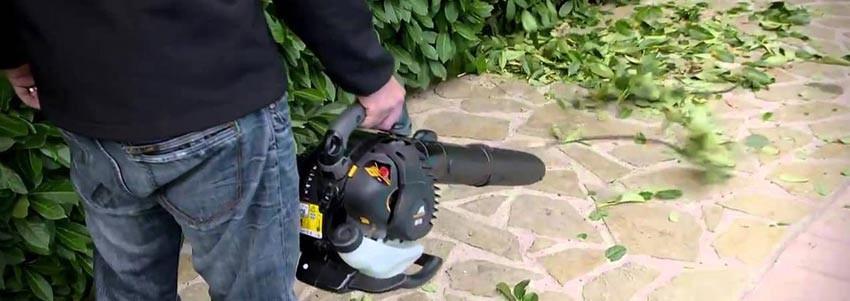Уборка листвы с помощью воздуходувки